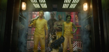 Chris Pratt, Zoe Saldana, Dave Bautista, Bradley Cooper & Vin Diesel in 'Guardians of the Galaxy'