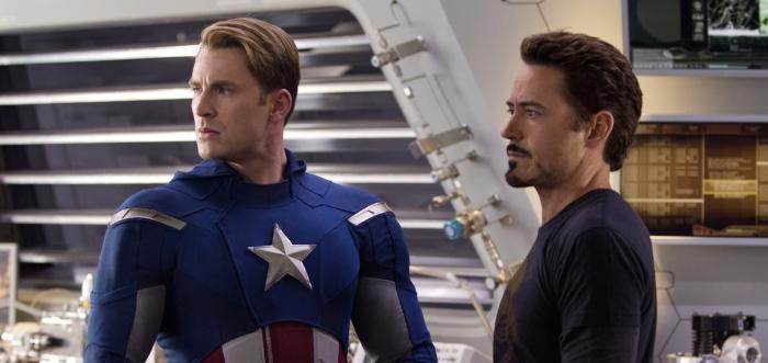 Chris Evans & Robert Downey Jr. in 'The Avengers'