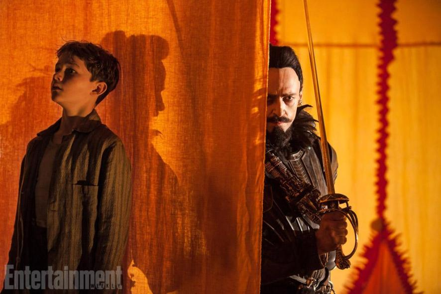 Levi Miller & Hugh Jackman in 'Pan'