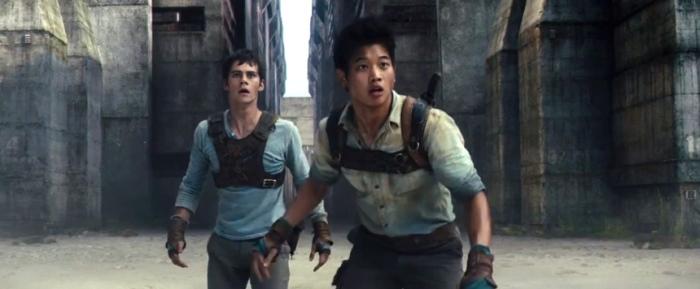 Dylan O'Brien & Ki Hong Lee in 'The Maze Runner'