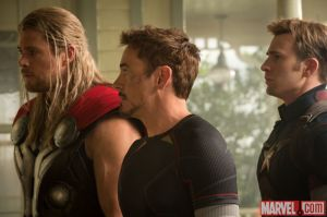Chris Hemsworth, Robert Downey Jr. & Chris Evans in 'Avengers: Age of Ultron'