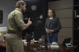 Hugh Jackman & Sigourney Weaver in 'Chappie'