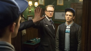 Colin Firth & Taron Egerton in 'Kingsman'
