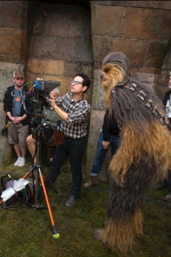 J.J. Abrams & Chewbacca on set 'Star Wars: The Force Awakens'