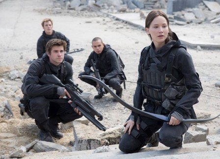 Jennifer Lawrence, Liam Hemsworth, Evan Ross & Sam Claflin in 'The Hunger Games: Mockingjay - Part 2'