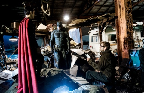 Henry Cavill, Ben Affleck & Zack Snyder on set 'Batman V Superman: Dawn of Justice'