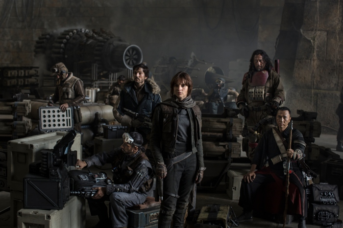 Riz Ahmed, Diego Luna, Felicity Jones, Jiang Wen and Donnie Yen in 'Star Wars: Rogue One'