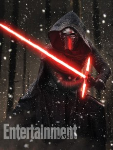 Our cover model, Kylo Ren (played by Adam Driver) strikes a pose with his homemade lightsaber. It turns out, his true identity has been masked from us in more ways than one…