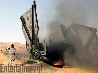 After a violent escape, John Boyega's Finn runs from the wreckage of a TIE fighter, afraid, desperate, but lucky to be alive.
