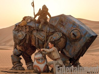 Rey (Daisy Ridley) meets up with BB-8 while cutting him free from a fellow scavenger's net. But what is that large creature — and who is riding atop it? (More on that later.)