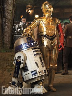 Old friends, but in a new time and place. R2-D2 seems to have hardly changed, but C-3PO (played by Anthony Daniels) now sports an unexplained red arm.