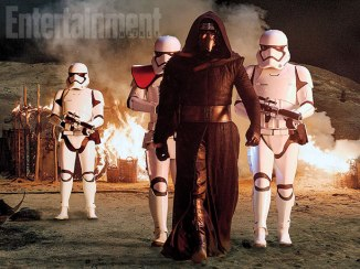 Squad goals. Kylo Ren (Adam Driver) and a team of merciless First Order stormtroopers lay waste to a peaceful Jakku village.