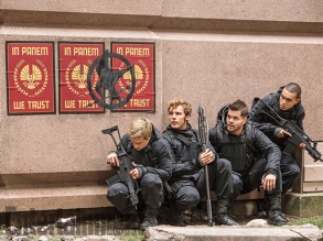 Josh Hutcherson, Sam Claflin, Wes Chatham & Evan Ross in 'The Hunger Games: Mockingjay - Part 2'