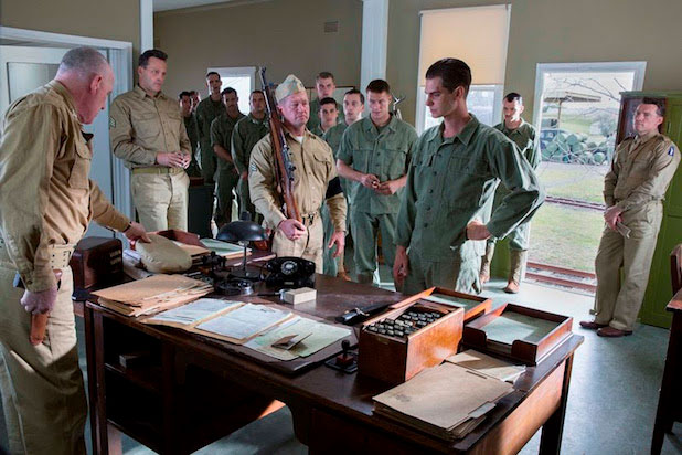 Vince Vaughn, Luke Bracey, Andrew Garfield & Sam Worthington in 'Hacksaw Ridge'