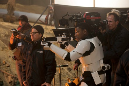 J.J. Abrams & John Boyega on set 'Star Wars: The Force Awakens'