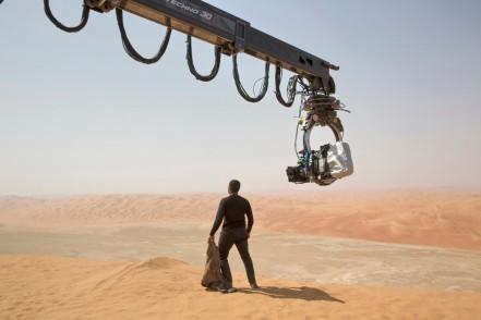 John Boyega on set 'Star Wars: The Force Awakens'