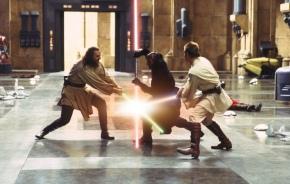 Liam Neeson, Ray Park & Ewan McGregor in 'Star Wars: Episode I - The Phantom Menace'