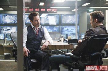 Robert Downey Jr. & Chris Evans in CAPTAIN AMERICA: CIVIL WAR