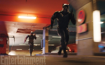 Chris Evans & Chadwick Boseman in CAPTAIN AMERICA: CIVIL WAR