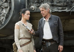 Daisy Ridley & Harrison Ford in STAR WARS: THE FORCE AWAKENS
