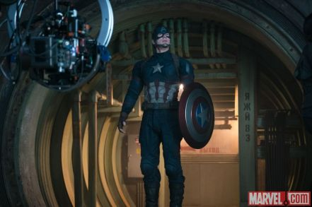 Chris Evans as Captain America on set 'Captain America: Civil War'