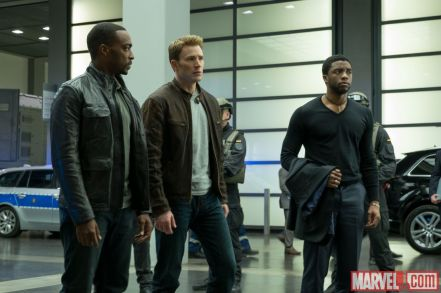 Anthony Mackie, Chris Evans & Chadwick Boseman in 'Captain America: Civil War'