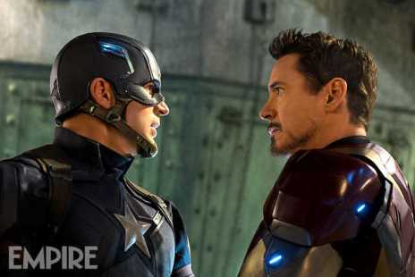 Chris Evans & Robert Downey Jr. in 'Captain America: Civil War'