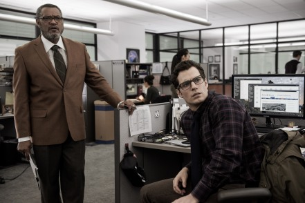 Laurence Fishburne & Henry Cavill in Batman v Superman: Dawn of Justice