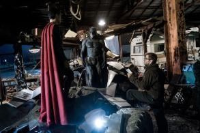 Henry Cavill, Ben Affleck & Zack Snyder on set Batman v Superman: Dawn of Justice