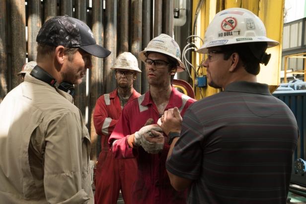 Peter Berg, Dylan O'Brien & Mark Wahlberg on set Deepwater Horizon