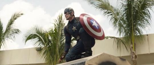 Chris Evans as Captain America in Captain America: Civil War