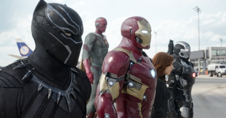 Black Panther, Vision, Iron Man, Black Widow & War Machine in Captain America: Civil War