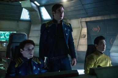 Anton Yelchin, Chris Pine & Jon Cho in Star Trek Beyond