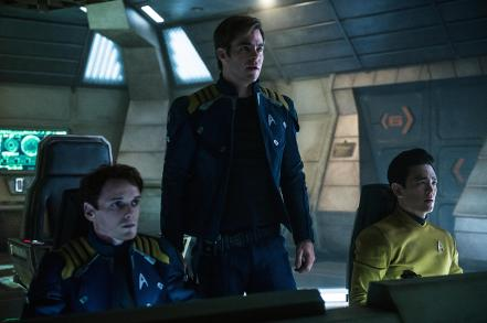 Anton Yelchin, Chris Pine & Jon Cho in Star Trek Beyond