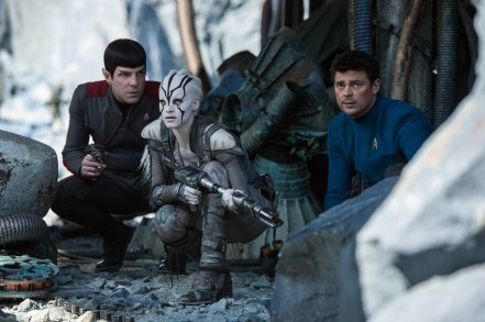 Zachary Quinto, Sofia Boutera & Karl Urban in Star Trek Beyond