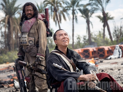 """Rest for Baze and Chirrut Hong Kong action star Donnie Yen (Ip Man) plays Chirrut Imwe, a blind warrior monk who is not a Jedi but follows the path of the Force, and Chinese martial-arts actor and director Jiang Wen (Devils on the Door Step) co-stars as Baze Malbus, Chirrut's Force-doubting rough-and-tumble protector. Like the original Star Wars, these characters owe a debt to the two peasants from a 1958 Akira Kurosawa adventure saga. """"They're inspired, again, by what inspired George in The Hidden Fortress, """" Kennedy says. """"You could even say to some extent it's, you know, R2 and C-3PO, a little bit of that."""""""