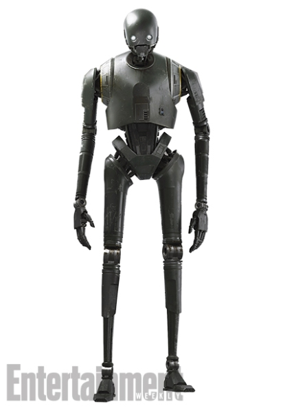 """K-2SO in Detail Here's a full-body shot of the newest Star Wars droid — a security robot known as K-2SO (Kaytoo Esso), who is voiced and performed via motion-capture by Alan Tudyk (Firefly.) Compare his gunmetal gray surface to the shimmering plating of """"Goldenrod"""" C-3PO, and you'll see the difference between a utilitarian droid like Kaytoo and a protocol droid like Threepio. Kaytoo wasn't built to socialize. He's as brusque and blunt as he is strong. """"He has a very dry delivery,"""" Edwards says. """"He doesn't realize what he's saying is very funny."""""""