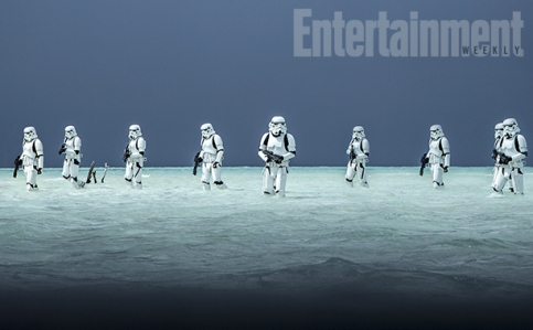 Paradise Lost Keeping with the Star Wars tradition of planets with a single ecosystem, one key battleground in Rogue One is on a world that might resemble a relaxing seaside holiday destination if not for its proximity to the Death Star. That leads to a key battle in the film taking place on its balmy shoreline — blue waters and an eerie gray sky.