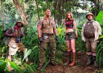 Kevin Hart, Dwayne Johnson, Karen Gillan & Jack Black in Jumanji (2017)