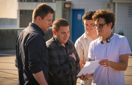 Channing Tatum, Jonah Hill, Chris Miller & Phil Lord on set 22 Jumps Street