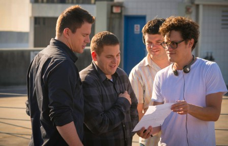 Channing Tatum, Jonah Hill, Chris Miller & Phil Lord on set 22 Jumps Street