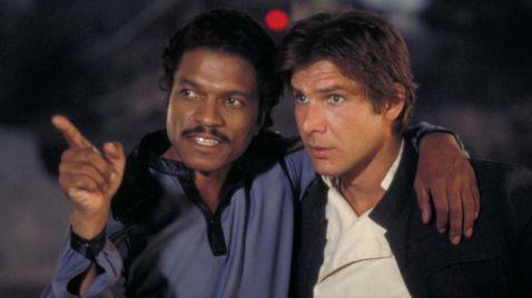 Billy Dee Williams as Lando Calrissian & Harrison Ford as Han Solo