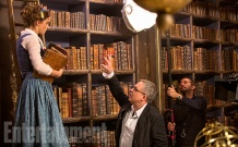 Emma Watson & Bill Condon on set Beauty and the Beast