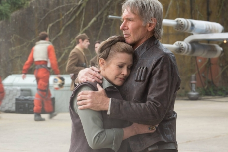 Carrie Fisher & Harrison Ford in Star Wars: The Force Awakens