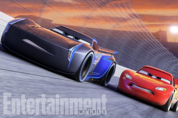 NEXT-GEN TAKES THE LEAD - Jackson Storm (voice of Armie Hammer), a frontrunner in the next generation of racers, posts speeds that even Lightning McQueen (voice of Owen Wilson) hasn't seen.