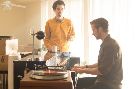 Damien Chazelle & Ryan Gosling on set La La Land