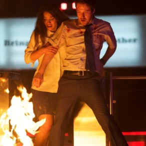 Adria Arjona & John Gallagher Jr. in The Belko Experiment