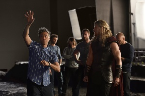 Taika Waititi & Chris Hemsworth on set Thor: Ragnarok
