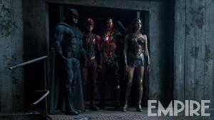 Ben Affleck, Ezra Miller, Ray Fisher & Gal Gadot in Justice League