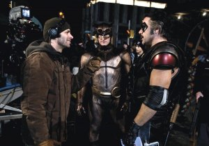 Zack Snyder, Patrick Wilson & Jeffrey Dean Morgan on set Watchmen